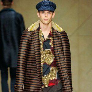 Burberry Prorsum Men's Raffia Trench Coat Jacket